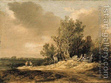 A wooded landscape with figures on a path by Jan van Goyen - Reproduction Oil Painting