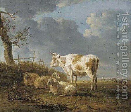 A pastoral landscape with a cow and sheep by a tree by Jan Kobell - Reproduction Oil Painting