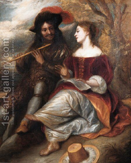 A couple in shepherd costume by a tree in a landscape by Jan Lievens - Reproduction Oil Painting