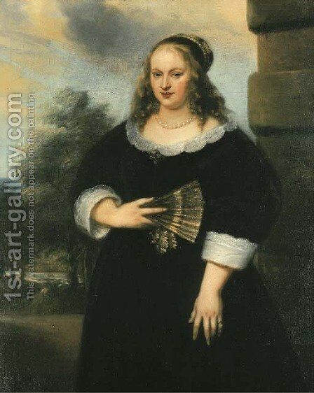 Portrait of a Lady, three-quarter-length, in a black dress with a white lace collar and cuffs, a fan in her right hand, a garden beyond by Jan Lievens - Reproduction Oil Painting