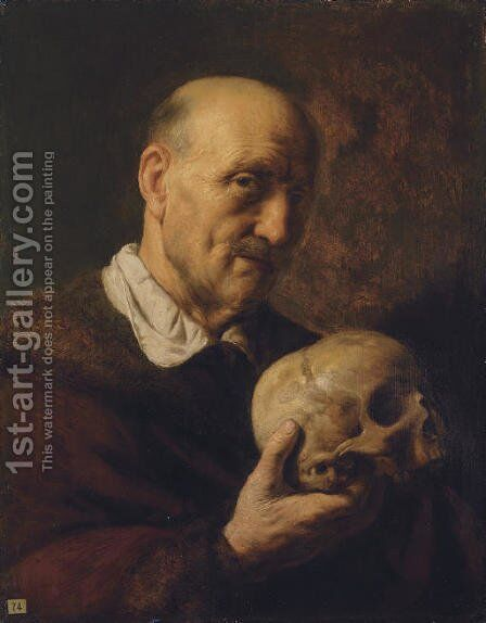 An old man, half-length, in a fur-lined coat, holding a skull by Jan Lievens - Reproduction Oil Painting