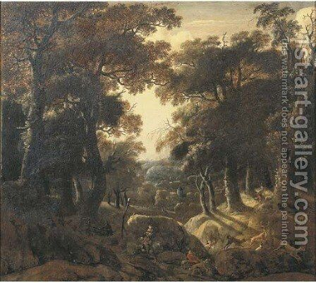 A wooded landscape at dawn with a stag hunt by Jan Looten - Reproduction Oil Painting