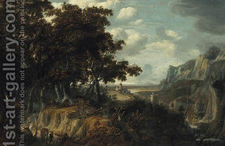 A wooded landscape with sportsmen returning from the hunt, a castle in a gorge beyond by Jan Looten - Reproduction Oil Painting