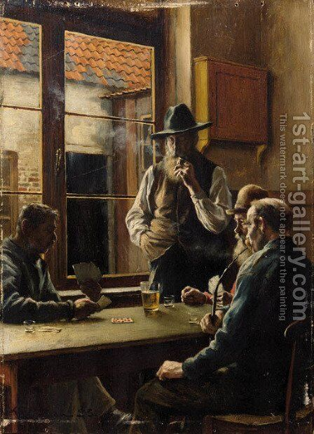 Cardplayers by Jan Ludovicus Moerman - Reproduction Oil Painting