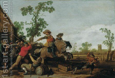Villagers attacking cavalry outside a cottage by Jacob Martsen de Jonge - Reproduction Oil Painting