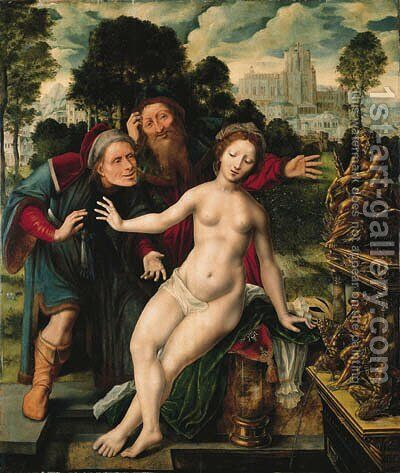Susannah and the Elders by Jan Massys - Reproduction Oil Painting