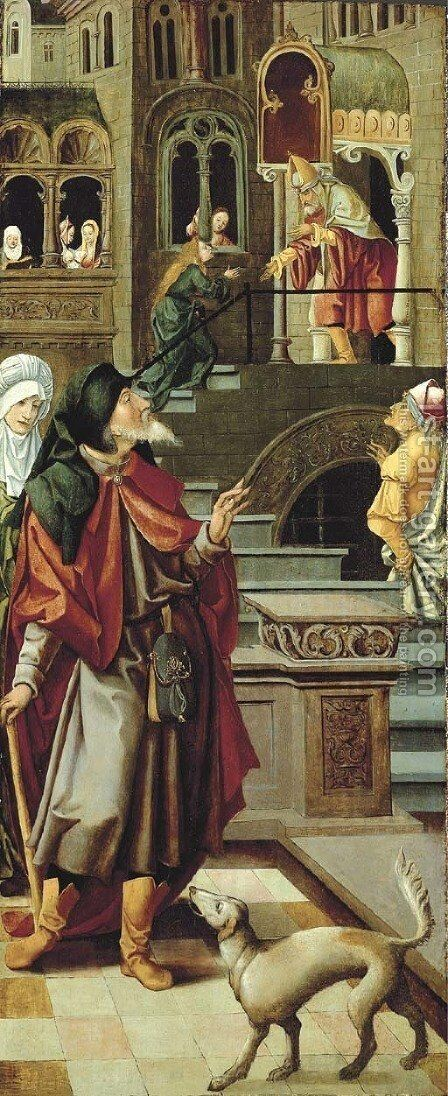 The Presentation of the Virgin in the Temple with Saint Anne and Saint Joachim wing from an altarpiece by Jan van Dornicke - Reproduction Oil Painting