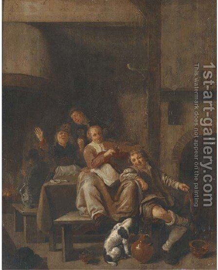 A tavern interior with a peasant woman playing the violin and other peasants singing by Jan Miense Molenaer - Reproduction Oil Painting