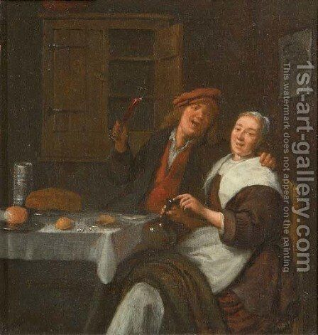 A couple drinking in an interior by Jan Miense Molenaer - Reproduction Oil Painting