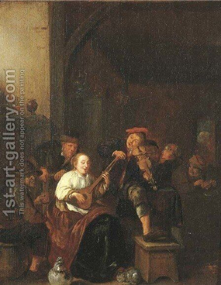 A tavern interior with a woman playing the lute, a man playing the fiddle, and boors drinking and smoking by Jan Miense Molenaer - Reproduction Oil Painting