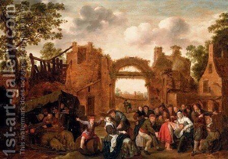 Villagers merrymaking and playing La main chaude amongst ruins by Jan Miense Molenaer - Reproduction Oil Painting