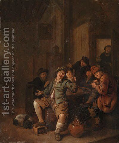 Peasants carousing in an inn by Jan Miense Molenaer - Reproduction Oil Painting