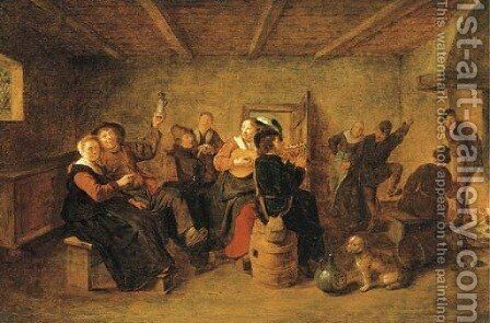 Peasants drinking and making music in a tavern by Jan Miense Molenaer - Reproduction Oil Painting