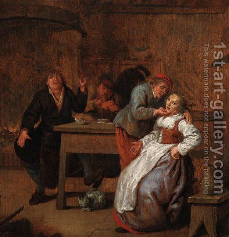 Peasants in an inn, with a courting couple by Jan Miense Molenaer - Reproduction Oil Painting