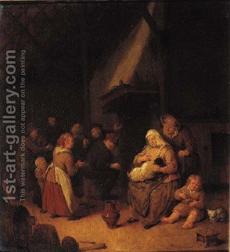 A peasant family in a barn by Jan Miense Molenaer - Reproduction Oil Painting