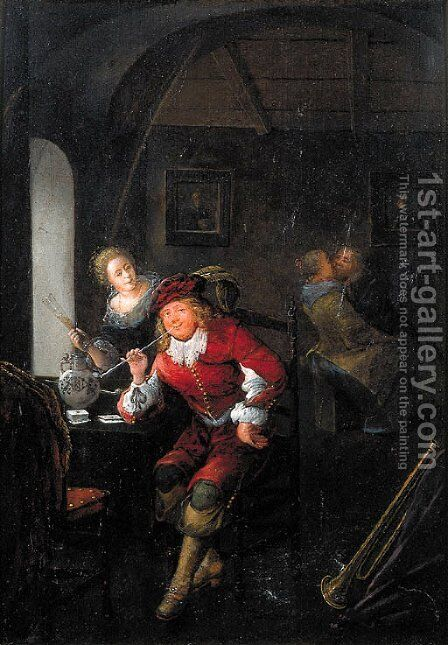 An officer smoking a pipe seated by a table in a brothel by Jan Miense Molenaer - Reproduction Oil Painting