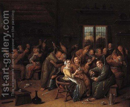 Monks merrymaking in a tavern by Jan Miense Molenaer - Reproduction Oil Painting