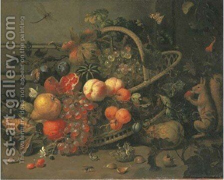 Apricots, peaches, plums, a pomegranate, a watermelon, an orange, a pear and corn in a basket, with cherries, chestnuts, snails, a bee by Jan Mortel - Reproduction Oil Painting