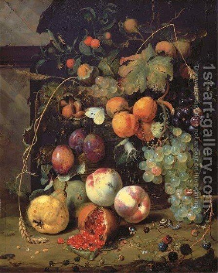 Peaches, plums, apricots, grapes, pears, blackberries, sheafs of corn, chestnuts, walnuts, medlars, cherries and a pomegranate with a snail by Jan Mortel - Reproduction Oil Painting