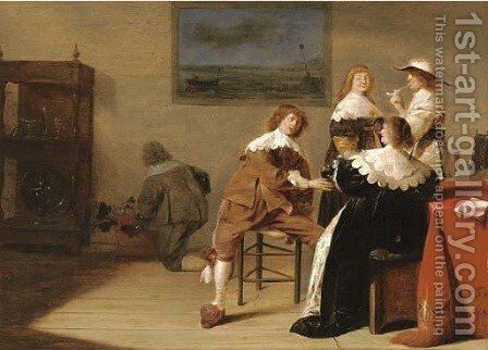 Elegant company drinking in an interior by Jan Olis - Reproduction Oil Painting