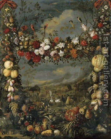 Animals in a landscape surrounded by a garland of flowers by Jan Pauwel Gillemans The Elder - Reproduction Oil Painting
