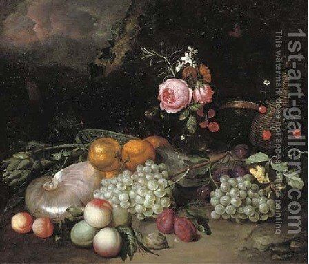 A nautilus shell, an artichoke, oranges, peaches, grapes, a vase with flowers, plums and a bottle in a landscape by Jan Pauwel II the Younger Gillemans - Reproduction Oil Painting