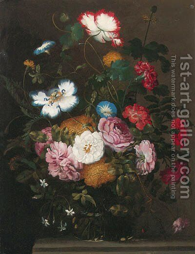 Roses, carnations, dahlias, morning glory and other flowers in a vase on a stone ledge by Jan The Elder Brueghel - Reproduction Oil Painting