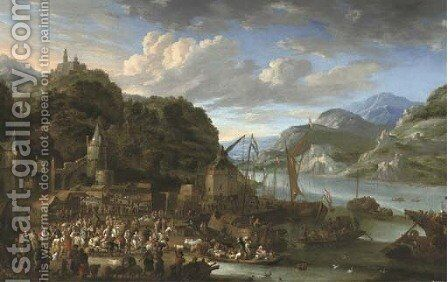 A mountainous river landscape with a harbour town, a market scene in the foreground, a castle on top of a hill beyond by Jan Peeters - Reproduction Oil Painting