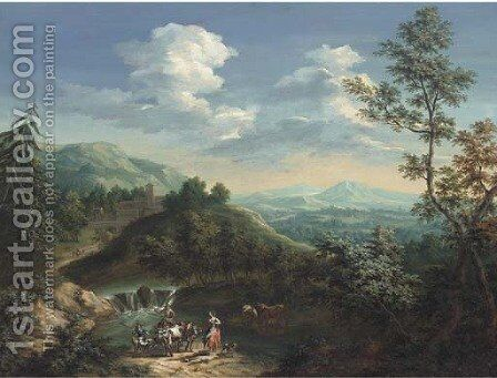 An extensive mountainous landscape with a drover, his cattle, a shepherd and his flock and a shepherdess on a river bank by Jan Philip Spalthof - Reproduction Oil Painting
