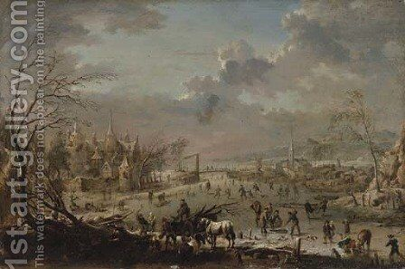 A winter landscape with villagers skating on a frozen river and wood-gatherers by Jan Pieter Van Bredael I - Reproduction Oil Painting