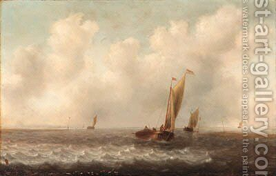 A Dutch kaag and other shipping in choppy seas by Jan Porcellis - Reproduction Oil Painting