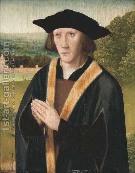 Portrait of a donor, half-length, in a fur trimmed robe, in a landscape by Jan Provost - Reproduction Oil Painting
