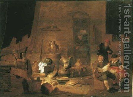 A barn interior with a peasant family by Jan Spanjaert - Reproduction Oil Painting
