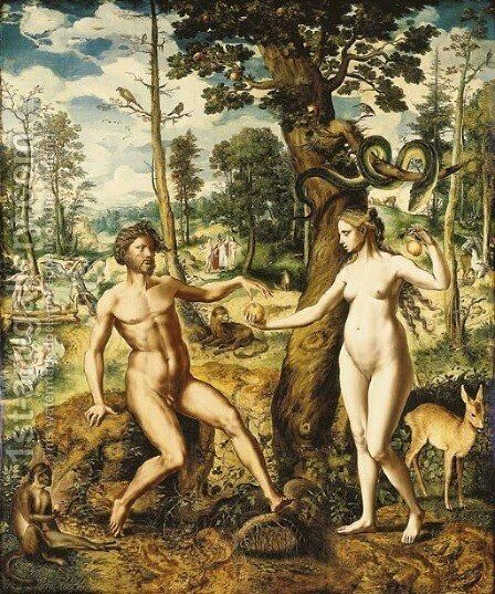 The Temptation, with the Rebuke and the Expulsion from the Garden of Eden beyond by Jan Swart van Groningen - Reproduction Oil Painting