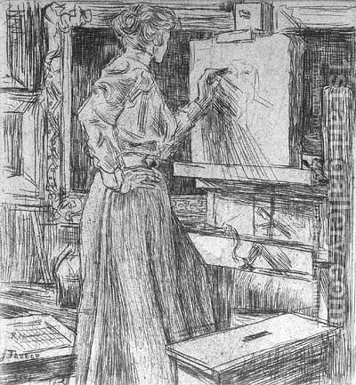 In 't atelierUntitled by Jan Toorop - Reproduction Oil Painting
