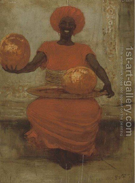 An African melon seller by Istvan Pekary - Reproduction Oil Painting