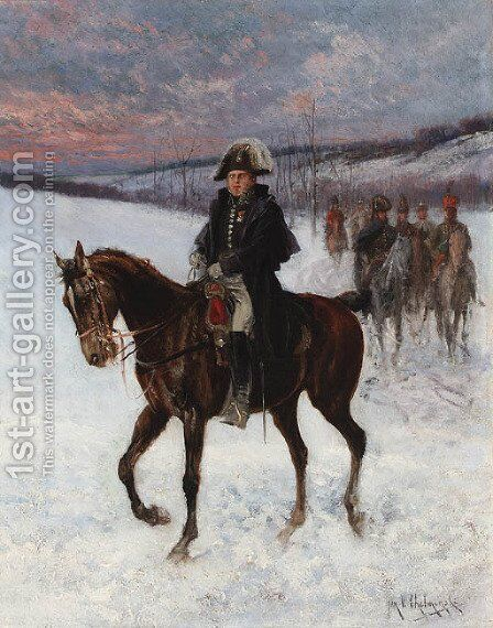 Marshal Ney on horseback; Campaign in Russia by Jan van Chelminski - Reproduction Oil Painting