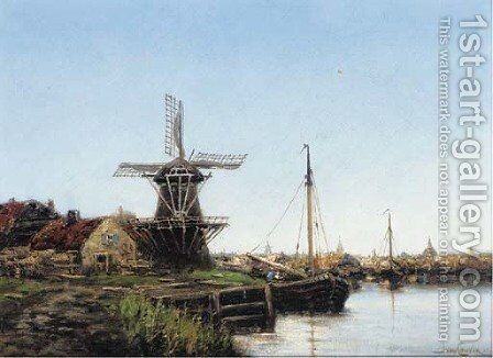 A Barge moored by a windmill before a Dutch town by Jan van Vlaardingen Couver - Reproduction Oil Painting