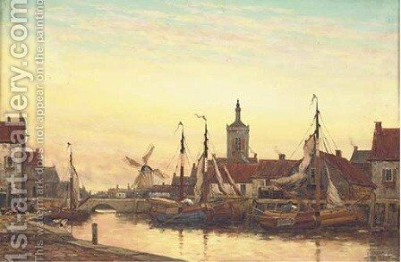 Early Morning Middelburgh, Holland by Jan van Vlaardingen Couver - Reproduction Oil Painting