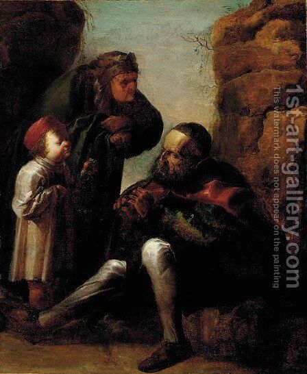 An old man playing a pipe with a woman and child by Jan van de Venne - Reproduction Oil Painting