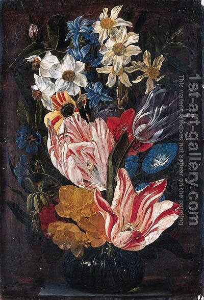 Tulips, roses, anemones, daffodils, hyacinths, morning glory and other flowers in a glass vase on a stone ledge by Jan van den Hecke - Reproduction Oil Painting