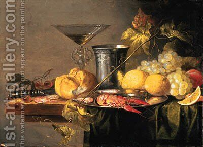 Crayfish and Prawns on a pewter Plate, a Beaker, a faon de Venise Wineglass, a Roll, a Knife, Lemons, Grapes, Cherries and other Fruit by Jan van den Hecke - Reproduction Oil Painting