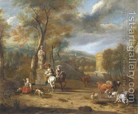 Elegant company on horseback by a fountain in a wooded landscape by Jan Van Der Bent - Reproduction Oil Painting