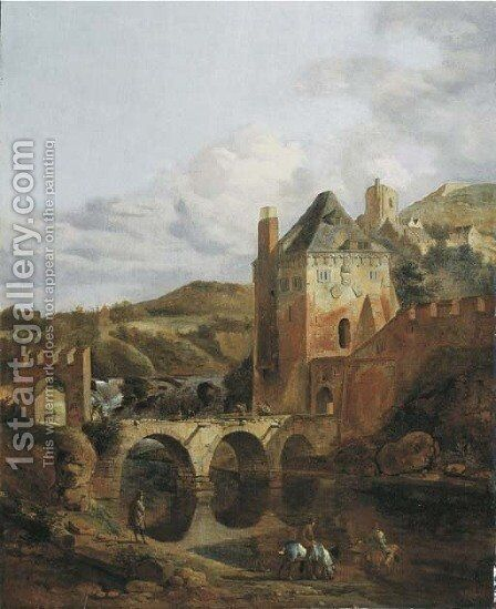 A river landscape with a fortified castle and a bridge by Jan Van Der Heyden - Reproduction Oil Painting