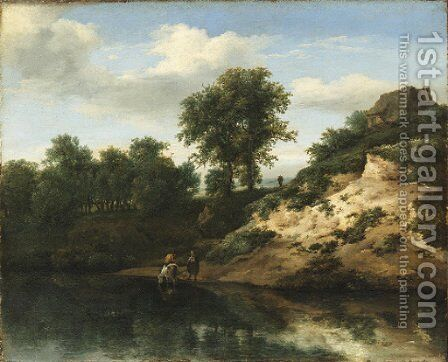 A wooded river landscape with figures conversing and a horse watering, a cottage on a hill beyond by Jan the Elder Vermeer van Haarlem - Reproduction Oil Painting