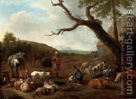 An Italianate wooded landscape with the departure of Jacob and Laban by Jan van der Meer - Reproduction Oil Painting