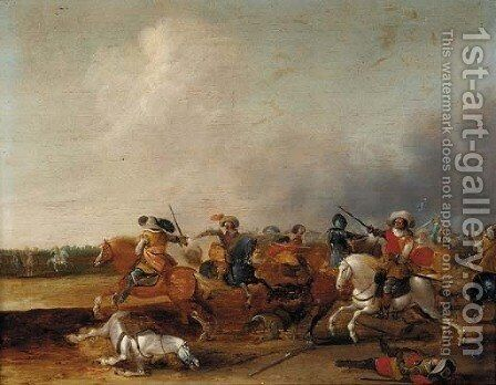 A cavalry skirmish by Jan Van Der Stoffe - Reproduction Oil Painting