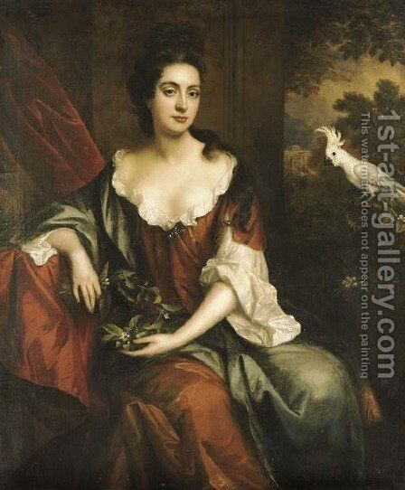 Portrait of a lady, three-quarter-length, seated in a brown dress with a blue cloak, holding orange blossom, by a red curtain with a white cockatoo by Jan van der Vaart - Reproduction Oil Painting