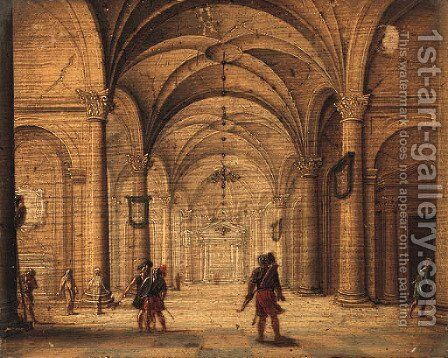 The Interior of a Cathedral with Soldiers in the foreground by Jan van Vucht - Reproduction Oil Painting