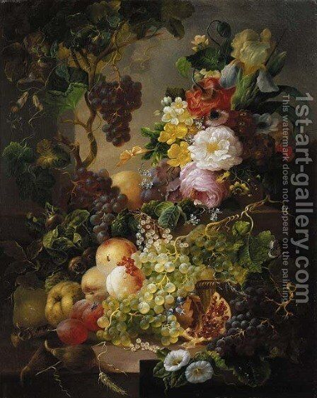 A still life with fruit and flowers amongst vines on a ledge by Jan Van Der Waarden - Reproduction Oil Painting